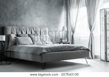 Sophisticated Dark Bedroom With Screen