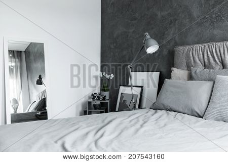 Contrast Color Bedroom With Mirror