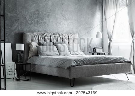 Grey Pillows On King-size Bed