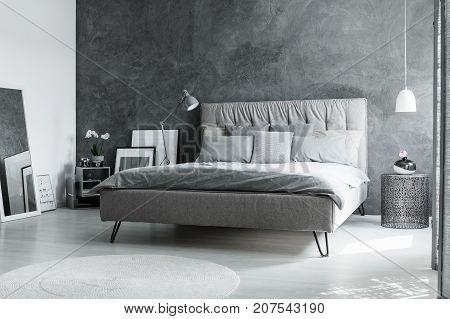Monochromatic Bedroom With Mirror