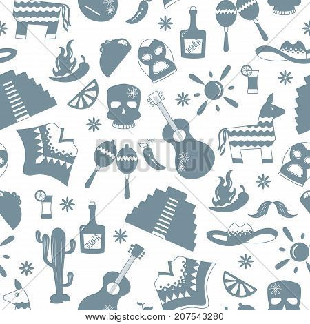 Seamless pattern on the theme of recreation in the country of Mexico a grey silhouettes of icons on white background