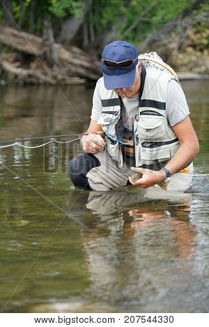 Fly fisherman trying to release brown trout in river