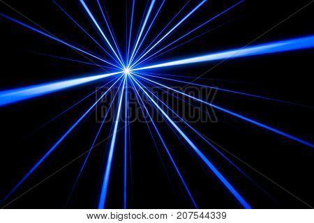 Blue laser beam light effect on black background, photo.