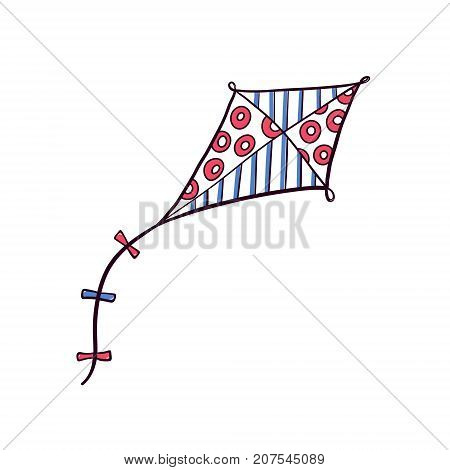 Hand drawn doodle, sketch style diamond kite decorated with patterns, flying in the sky, vector illustration isolated on white background. Sketch, doodle diamond shaped kite, hand drawn illustration