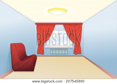 The interior of the room is simple with a sofa and a window. Vector illustration