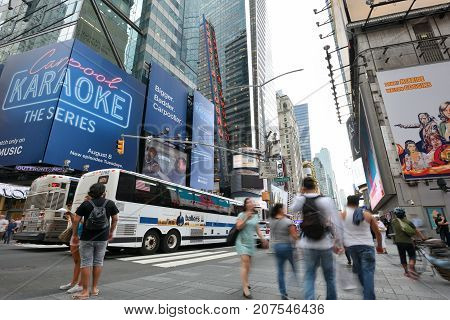 NEW YORK CITY USA - AUG. 26 : Traffic on street in Manhattan on August 26 2017 in New York City NY. Manhattan is the most densely populated borough of New York City.