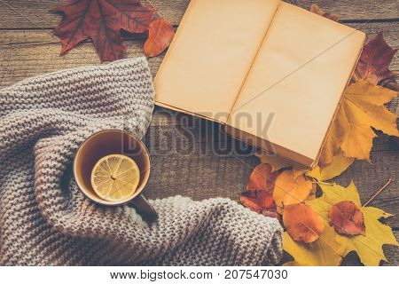 Cup Of Tea, Cozy Knitted Scarf, Autumn Leaves, Open Book On Wooden Board.