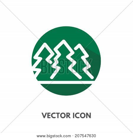 Vector doodle pine tree icon. Stock round symbol for design.