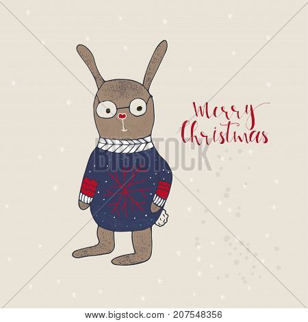 Merry Christmas Cute Greeting Card With Hare For Present.