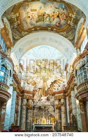 Vienna Austria - August 7 2016: Paintings and decorations of the nave of the Karls (St Carlo Borromeo) church