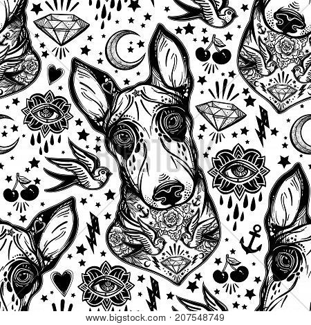 Vintage style traditional tattoo flash Bull terrier dog seamless doodle pattern with swallows. Trendy stylish texture. Repeating old school tile artwork print, textiles. Isolated vector illustration.