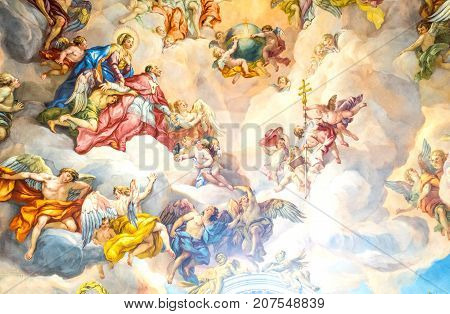 Vienna Austria - August 7 2016: the frescoes of the nave ceiling of the Karls (St Carlo Borromeo) church