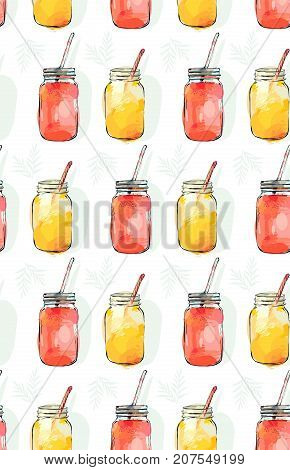 Hand drawn vector abstract summer time organic fresh fruits seamless pattern with lemonade detox cocktails in glass bottle jar in rose pink colors isolated on white background.