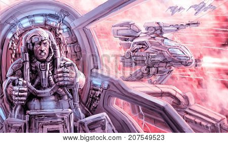 The soldier of the combat robot is fighting. Inside the cockpit of the war machine. Military technique on the battlefield. Science fiction clip art.
