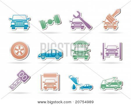 auto service and transportation icons