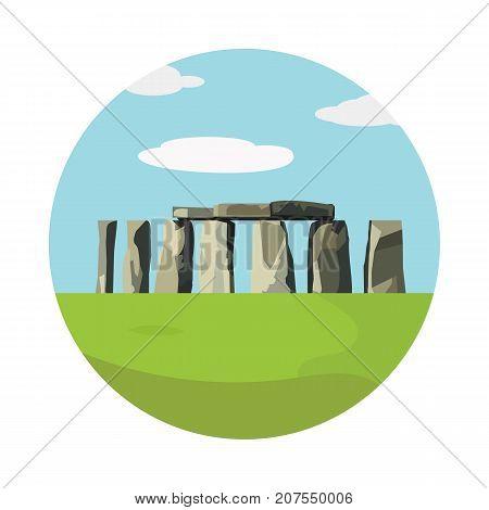 Stonehenge icon isolated on white background. Vector illustration for prehistoric religious landmark architecture. Ancient monument rock. Heritage England UK tourism. Colorful Stonehenge circle logo
