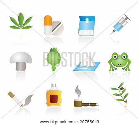 Different kind of drug icons - vector icon set poster
