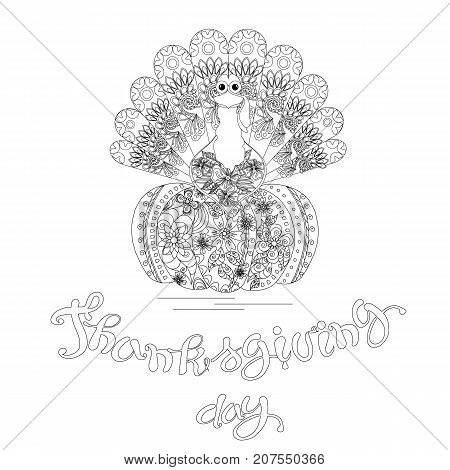 Doodle style sketch of turkey on pumpkin lettering Thanksgiving day, thin black line on white stock vector illustration