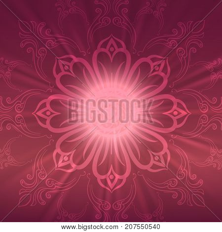 Abstract floral ethnic background in dark pink colors, vector illustration