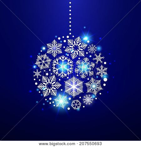 Decorative christmas snowflakes in shape of curcle christmas tree decoration. Vector illustration