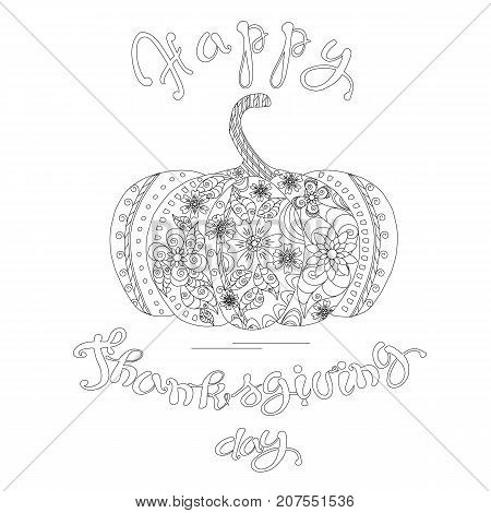 Doodle style sketch of pumpkin lettering Happy Thanksgiving day, thin black line on white stock vector illustration