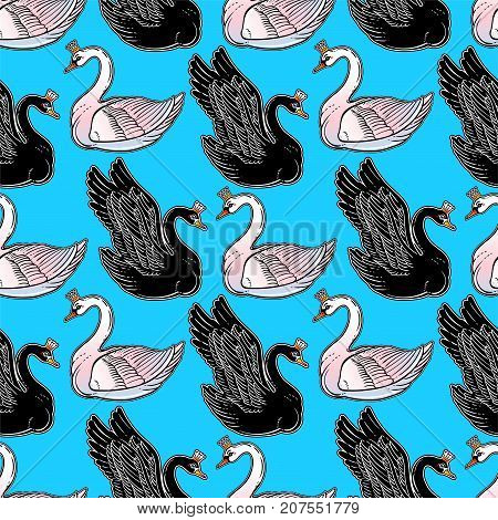 Seamless vintage pin-up pattern with black and white swan. Lovely swans classic flash tattoo style element. Design for textiles, print in cute style. Pop art. Fashionable vintage repeating background.