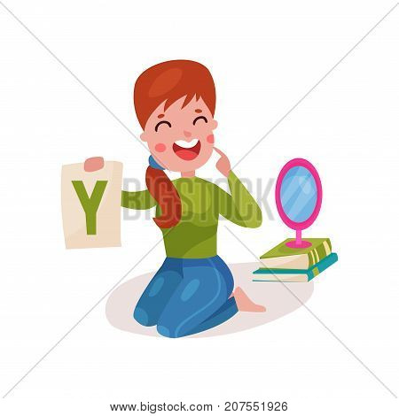 Smiling female speech therapist sitting on the floor showing letter Y, teacher working with children at kindergarten colorful cartoon vector Illustration on a white background