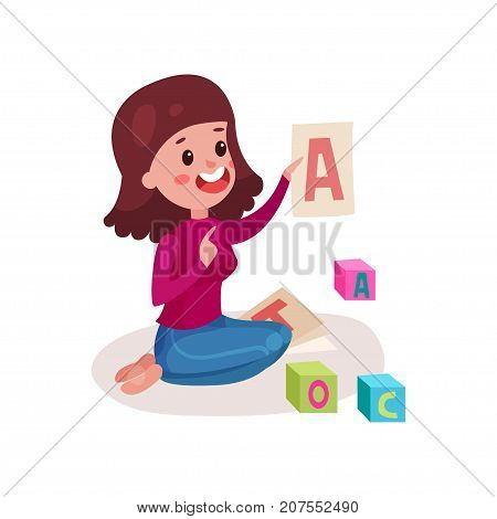 Smiling female teacher sitting on the floor showing letter A, woman teaching child the alphabet colorful cartoon vector Illustration on a white background