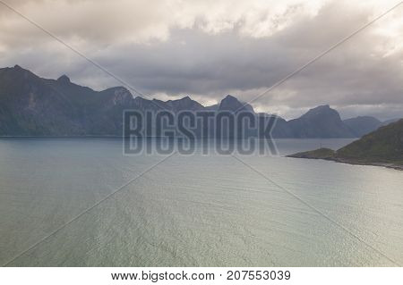 View of the panorama with the Segla mountain Mefjordvaer Senjahopen Norway.