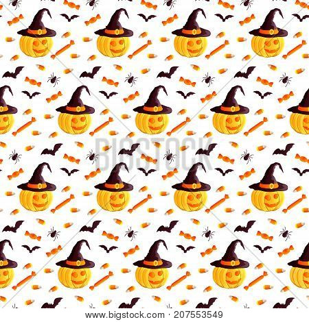 Festive seamless pattern. Halloween characters jack o lantern, witch hat, bat, spider, corn candy. Vector illustration on a white background. Usable for design, packaging, wallpaper, textile, card.