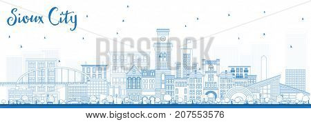 Outline Sioux City Iowa Skyline with Blue Buildings. Business Travel and Tourism Illustration with Historic Architecture.