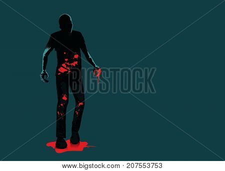 Silhouette of zombie full length standing on blood puddle isolated on green background. Illustration about horror and mystery.