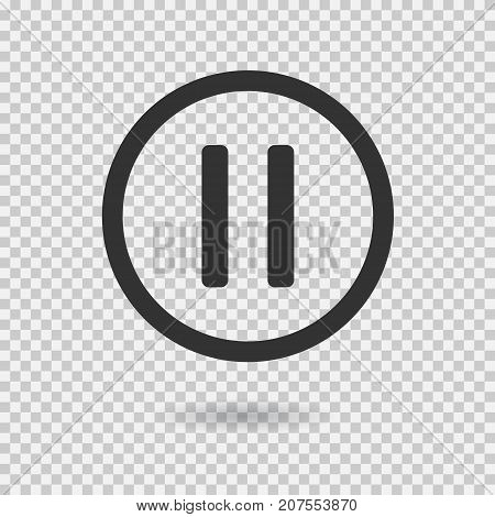 Pause icon with shadow. Vector button for web or app. Button for audio or video. Illustration on transparent background.