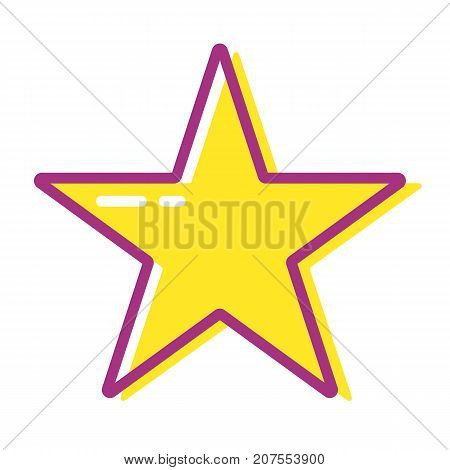 Cartoon yellow star for web app or game. Rating. Colorful vector icon on white background.
