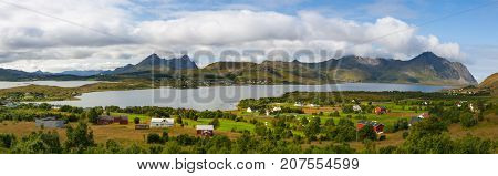Amazing landscape near the Torvdalsveien city Bostad Lofoten Norway. Panorama picture.