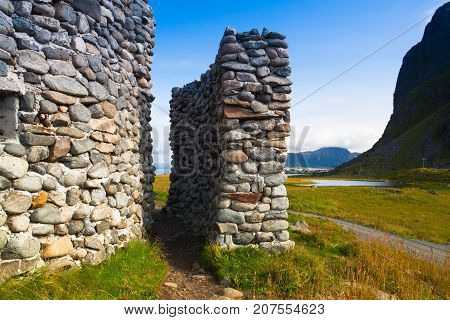 On the coast in Eggum Lofoten Islands Norway. Borga Eggum - Old radar station.