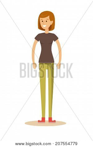 attractive girl. Stock vector illustration for poster, greeting card, website, ad, business presentation, advertisement design
