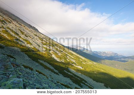 View from Skalnate pleso in Slovakia. It is a lake located in the High Tatras mountains in the north of Slovakia