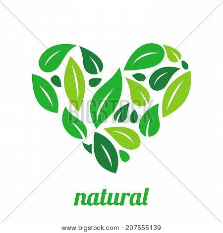 Tree Logo heart shape design vector template.Organic Natural Plant Garden Park Logotype concept icon