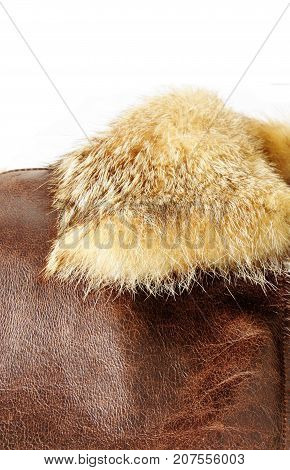 leather jacket with fur collar isolated background