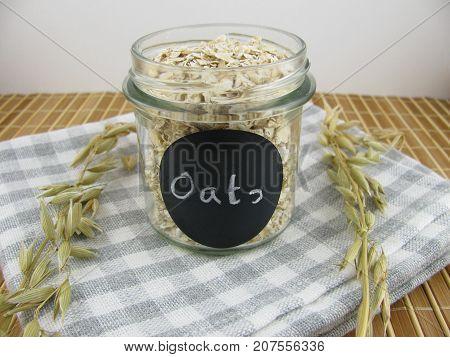 Tasty rolled oats in a litte glass