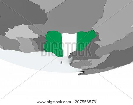 Nigeria With Flag On Globe