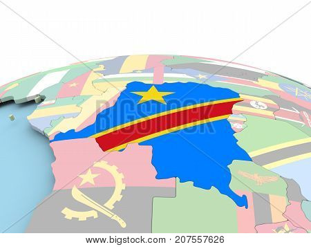 Flag Of Democratic Republic Of Congo On Bright Globe