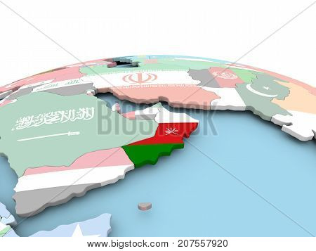 Flag Of Oman On Bright Globe
