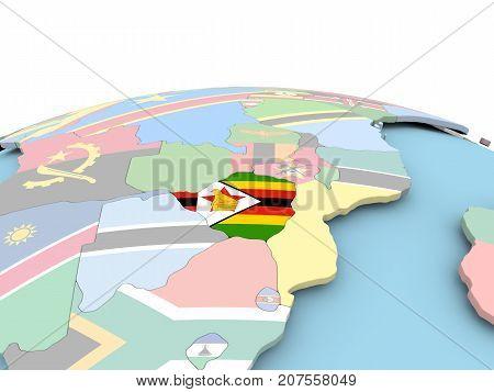Flag Of Zimbabwe On Bright Globe