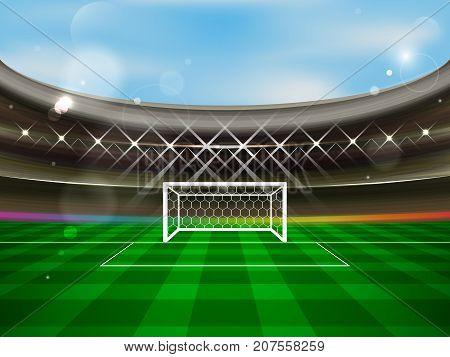 Soccer Stadium Vector Banner. Football Arena With Spotlights, Tribunes, Soccer Goal Net And Green Gr