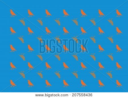 this is a poster, poster , background, picture, birds, bleu, orange