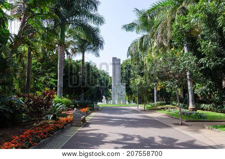 Santa Cruz de Tenerife Canary Islands SPAIN. March 1 2017. Parque Garcia Sanabria is the largest urban park in the Canary Islands. This garden contains different tropical plats and trees fountains and modern sculptures