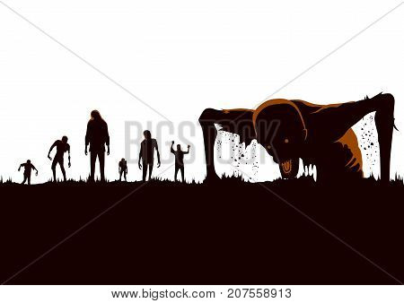 Silhouette of Zombie hordes rising out of the ground isolated on white