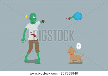 Zombie play throw and grab a disc and his arm off. Illustration about funny of pet owner.